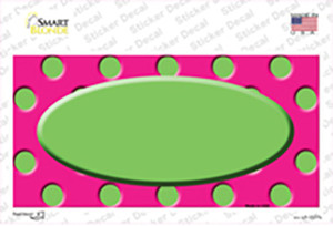 Lime Green Pink Polka Dot Lime Green Center Oval Wholesale Novelty Sticker Decal