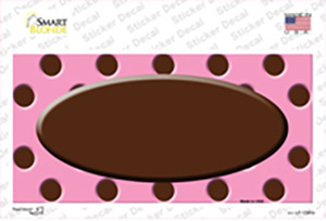 Brown Pink Polka Dot Brown Center Oval Wholesale Novelty Sticker Decal