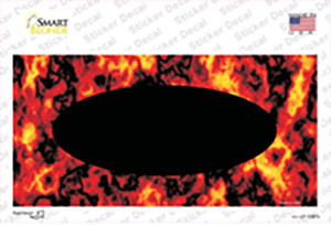 Fire Explosion With Black Center Oval Wholesale Novelty Sticker Decal