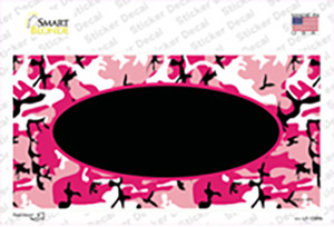 Pink Camo With Black Center Oval Wholesale Novelty Sticker Decal