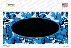 Blue Camo With Black Center Oval Wholesale Novelty Sticker Decal