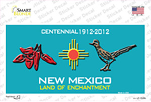 Red Chili & Road Runner New Mexico Teal Wholesale Novelty Sticker Decal