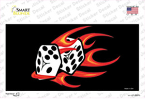 Red Hot Flaming Dice Wholesale Novelty Sticker Decal