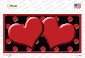 Red Black Polka Dot Red Center Hearts Wholesale Novelty Sticker Decal