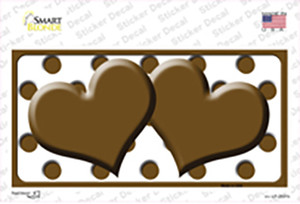 Brown White Polka Dot Brown Centered Hearts Wholesale Novelty Sticker Decal
