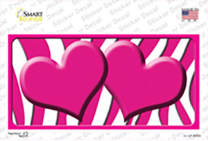 Hot Pink White Zebra Hot Pink Centered Hearts Wholesale Novelty Sticker Decal