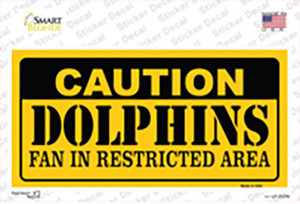 Caution Dolphins Wholesale Novelty Sticker Decal