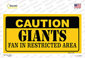 Caution Giants Wholesale Novelty Sticker Decal