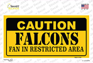 Caution Falcons Wholesale Novelty Sticker Decal