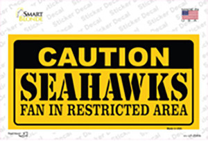 Caution Seahawks Wholesale Novelty Sticker Decal
