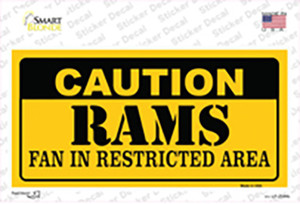 Caution Rams Wholesale Novelty Sticker Decal