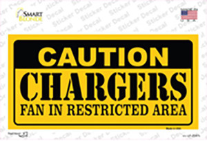 Caution Chargers Wholesale Novelty Sticker Decal