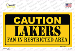 Caution Lakers Fan Wholesale Novelty Sticker Decal