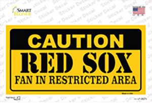 Caution Red Sox Fan Wholesale Novelty Sticker Decal