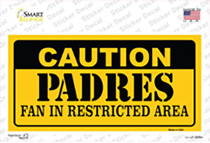 Caution Padres Fan Wholesale Novelty Sticker Decal