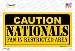 Caution Nationals Fan Wholesale Novelty Sticker Decal