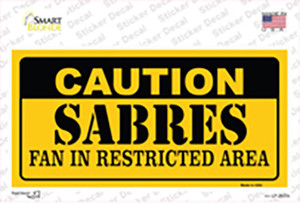 Caution Sabres Wholesale Novelty Sticker Decal