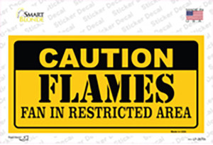 Caution Flames Wholesale Novelty Sticker Decal