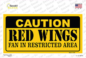 Caution Red Wings Wholesale Novelty Sticker Decal