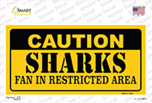 Caution Sharks Wholesale Novelty Sticker Decal