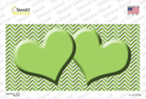 Lime Green White Chevron Lime Green Center Hearts Wholesale Novelty Sticker Decal