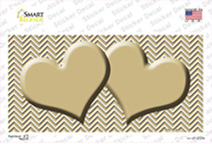 Gold White Chevron Gold Center Hearts Wholesale Novelty Sticker Decal