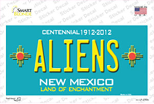 Aliens New Mexico Teal Wholesale Novelty Sticker Decal