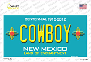 Cowboy New Mexico Teal Wholesale Novelty Sticker Decal