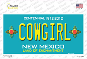Cowgirl New Mexico Teal Wholesale Novelty Sticker Decal