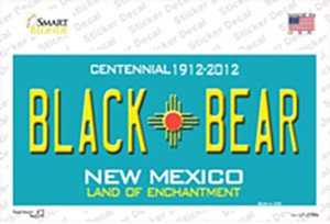 Black Bear New Mexico Teal Wholesale Novelty Sticker Decal