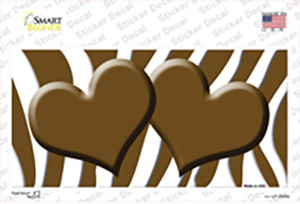 Brown White Zebra Brown Centered Hearts Wholesale Novelty Sticker Decal