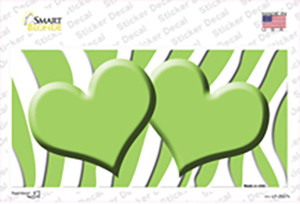 Lime Green White Zebra Lime Green Centered Hearts Wholesale Novelty Sticker Decal