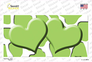 Lime Green White Giraffe Lime Green Centered Hearts Wholesale Novelty Sticker Decal