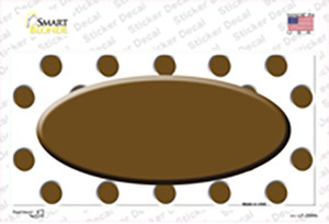 Brown White Polka Dot Brown Center Oval Wholesale Novelty Sticker Decal