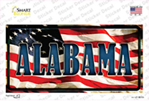 Alabama on American Flag Wholesale Novelty Sticker Decal