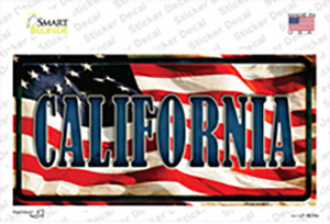 California on American Flag Wholesale Novelty Sticker Decal