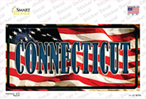 Connecticut on American Flag Wholesale Novelty Sticker Decal