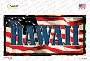Hawaii on American Flag Wholesale Novelty Sticker Decal