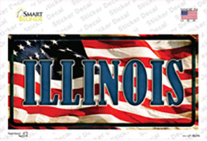 Illinois on American Flag Wholesale Novelty Sticker Decal