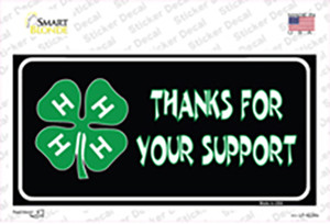 Thanks For Your Support 4-H Wholesale Novelty Sticker Decal