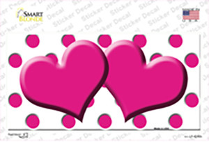 Hot Pink White Polka Dot Hot Pink Centered Hearts Wholesale Novelty Sticker Decal