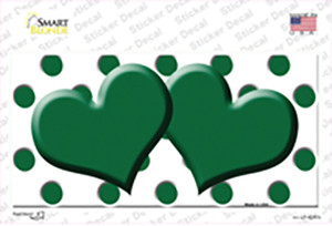 Green White Polka Dot Green Centered Hearts Wholesale Novelty Sticker Decal
