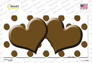Brown White Polka Dot With Brown Centered Hearts Wholesale Novelty Sticker Decal
