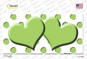 Lime Green White Polka Dot Lime Green Centered Hearts Wholesale Novelty Sticker Decal