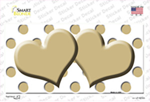 Gold White Polka Dot Gold Centered Hearts Wholesale Novelty Sticker Decal