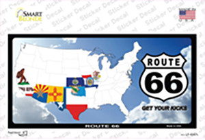 Route 66 8 Flags Clouds Wholesale Novelty Sticker Decal