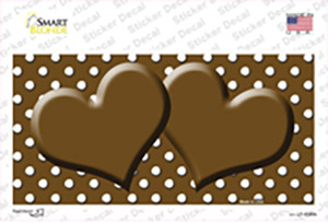 Brown White Polka Dot Center Hearts Wholesale Novelty Sticker Decal