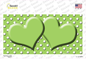 Lime Green White Polka Dot Center Hearts Wholesale Novelty Sticker Decal