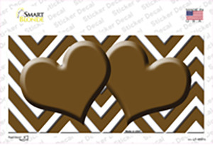 Brown Chevron Hearts Wholesale Novelty Sticker Decal