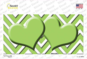 Lime Green Chevron Hearts Wholesale Novelty Sticker Decal